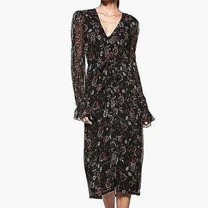 PAIGE Lilou Midi Dress Black Mauve Wine Wrap Dress